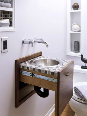 Lavabo rétractable, lavabo dans le mur, rangement lavabo, lavabo original, petite salle de bain