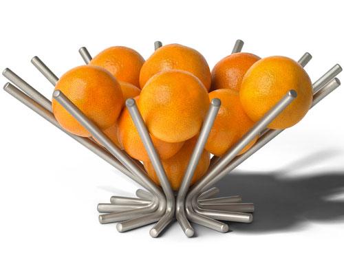 corbeille de fruits en métal, rangement plan de travail cuisine, présentoir fruits