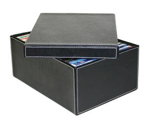 boite de rangement en cuir à surpiqures blanches avec couvercle, bac de rangement cuir, boite en cuir
