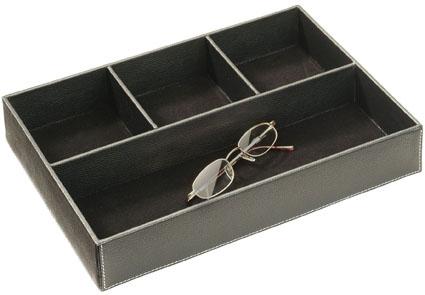 boite de rangement compartimentée en cuir, valet vide poche en cuir, rangement pour lunettes bijoux et menus objets