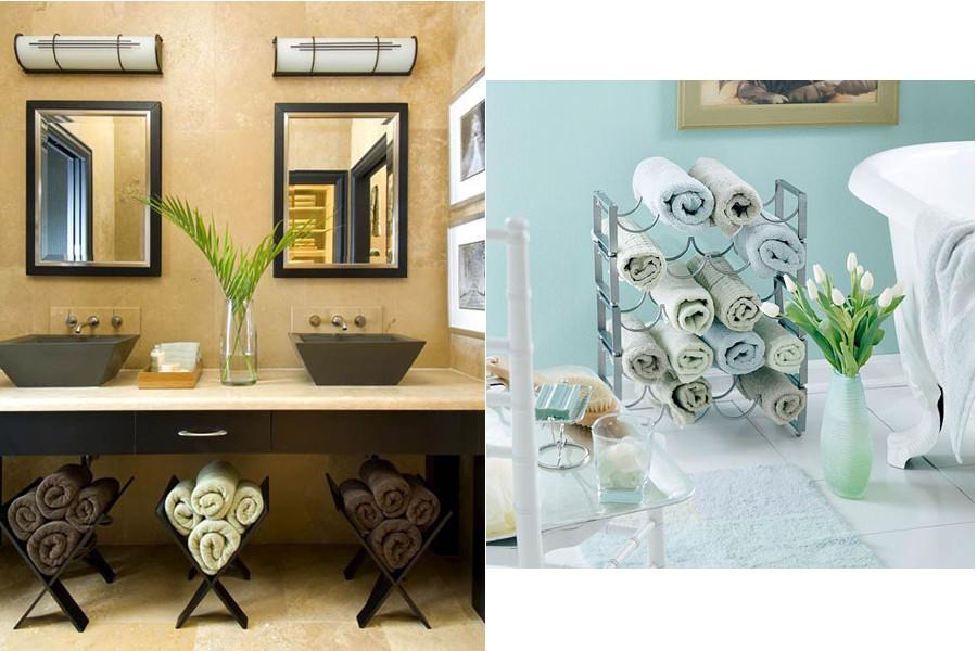 5 id es pour optimiser le rangement de votre salle de bain for Rangement serviette salle de bain