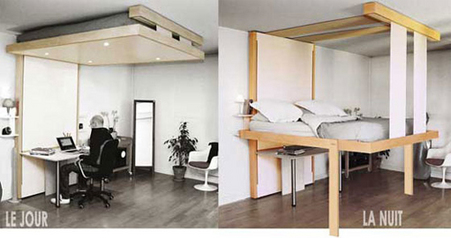 Chambre coucher le lit au plafond ou la solution gain for Bureau qui monte