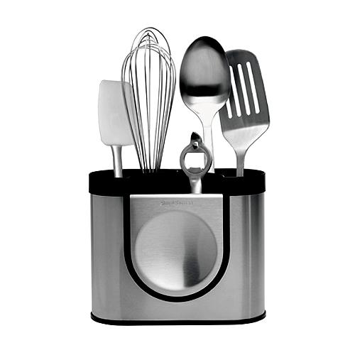 Porte-ustensiles en métal avec repose-spatule, range-ustensiles en méta, pot à ustensiles en métal