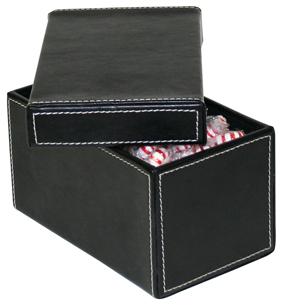 Petite boite en cuir, petite boite de rangement en cuir à surpiqures blanches, élégante boite de rangement