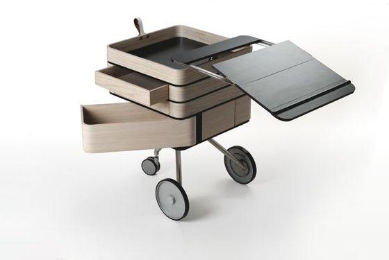 Bureau mobile bois et métal, objet design