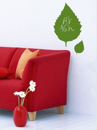 Sticker végétal ardoise bio, sticker design vert, sticker deco nature bio, messages, autocollant feuilles vert