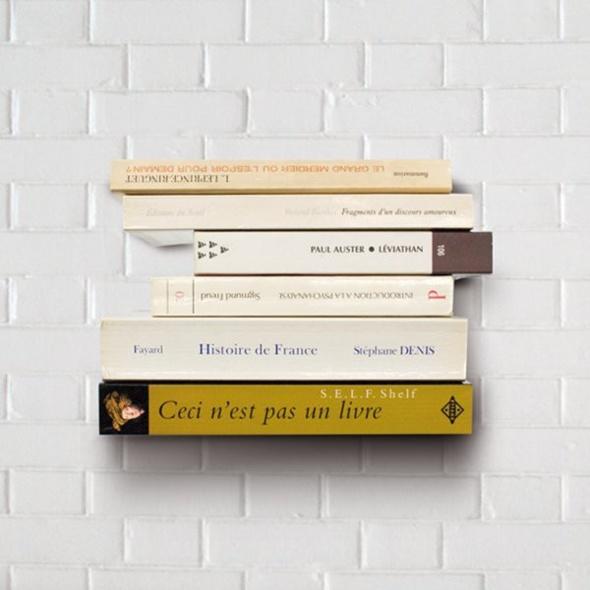 Etagère design invisible pour livres en apesanteur