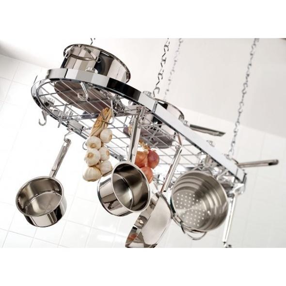 Plafonnier de rangement cuisine oval chromé