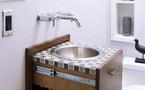 Un rangement insolite pour la salle de bain : le lavabo qui disparaît dans le mur
