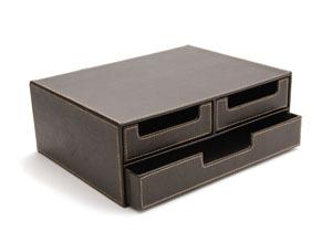 Rangement 2 niveaux et 3 tiroirs en simili cuir boites - Boites tiroirs de rangement ...