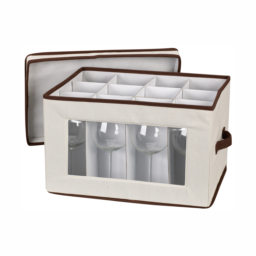 Boite rangement verres pied flute boite boite de for Boite de rangement salle de bain